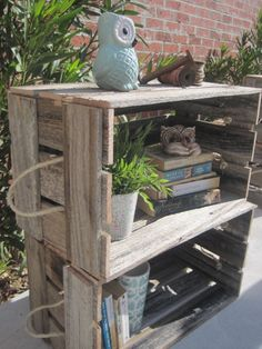 2 VINTAGE INDUSTRIAL RECYCLED TIMBER CRATES,BOOKSHELF,CABINET, PLANTER BOX