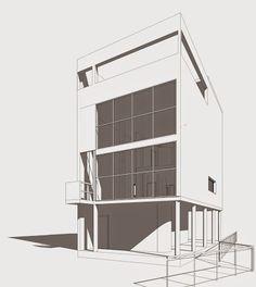 Render de la Villa Citrohan de Le Corbusier. #Architecture #Revit #LeCorbusier