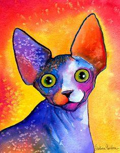 sphinx cat painting by Svetlana Novikova