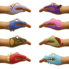 Héctor Serrano's Hand Tattoos from Talking Hands  This latest handiwork transforms a child or adult paw into a wide-eye creature or robot (not suitable for kids under 3). Just use water. And they remove just as swiftly. Great for parties or as stocking stuffers. Set of 8 as pictured here in every box.