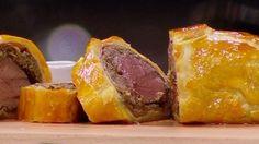 MasterChef - Beef Wellington - Recipe By: Gary Mehigan Dried Mushrooms, Stuffed Mushrooms, Crepe Batter, Beef Roll, Masterchef Australia, Beef Fillet, Carnivore, Beef Bones, Pastry Brushes