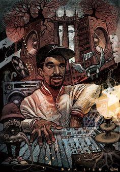 Marley Marl,  Part of the Ego Strip series by Dan Lish www.danlish.com www.facebook.com/danlish01 http://danlishartworks.bigcartel.com