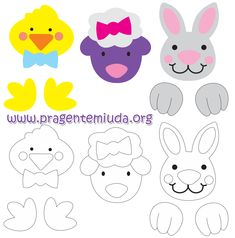 DIY Easter Egg Animals in Grass Egg stands. The Egg stands are made from a green foam sheet. The animals (picture here) are a free printable to decorate a real egg or styropor egg. Really cute aren't they?⭐⭐⭐Personagens da páscoa com ovo e EVA | Pra Gente Miúda