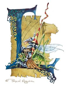 Typography - Alphabet Korrigans by Pascal Moguerou - Letter L Alphabet Art, Letter Art, Typography Alphabet, Illuminated Letters, Illuminated Manuscript, Painting & Drawing, Beautiful Calligraphy, Creative Lettering, Medieval Manuscript