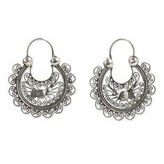 Fair Trade Artisan Crafted Sterling Silver Earrings - Mazahua Crescents | NOVICA