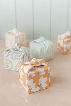 fabric-wrapped favors