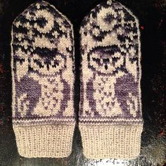 Owl Mittens pattern by Marie Wall | malabrigo Worsted in frost Gray, Alpine Pearl and Natural