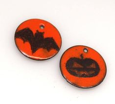 Black Orange Bat Pumpkinenamel copper charm,Copper #supplies @EtsyMktgTool http://etsy.me/2aiAOyg #earringcharms #jewelrycomponents