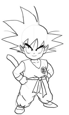 How To Draw Goku Easy Dragonball Z Gt Pinterest Dragon Ball