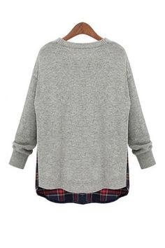Grey O-neck Long Sleeves Loose Sweater