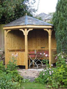 Corner Seating Arbour, handbuilt in our Devon workshop. www.wooden-workshop.co.uk