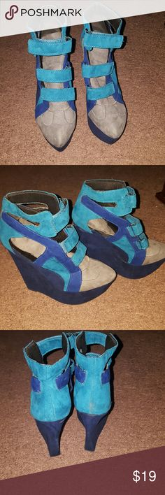 Wedge heeled womens shoes Different,  strap up turquoise ,gray and dark blue closed toed wedges Shoes Wedges