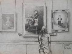 """Saatchi Art is pleased to offer the drawing, """"A girl at the museum,"""" by Giuseppe Vallesi. Original Drawing: Pencil on Paper. Size is 0 H x 0 W x 0 in. Saatchi Art, Museum, Paintings, Drawings, Paint, Painting Art, Sketches, Painting, Drawing"""