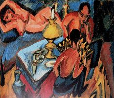 Ernst Ludwig Kirchner - Erich Heckel and Otto Mueller playing chess