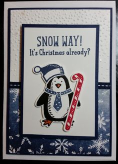 Christmas Card - using Stampin' Up! products including Season of Cheer DSP and Snow Place Stamp Set and Snow Friends Framelits Dies
