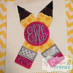 Crossed Pencil Monogram Applique - 4 Sizes! | What's New | Machine Embroidery Designs | SWAKembroidery.com Applique Frenzy