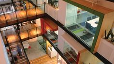 WOW! Challenger's Sydney, Australia, office, designed by Bligh Voller Nield Architecture: peering into the atrium.