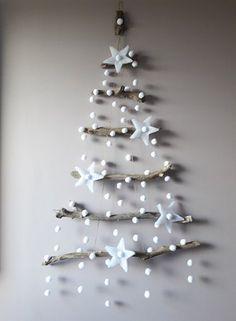 Diy Wall Christmas Tree Ideas Home Ideas Wall Christmas Tree, Driftwood Christmas Tree, Noel Christmas, Rustic Christmas, Simple Christmas, Christmas Ornaments, Etsy Christmas, Xmas Tree, White Christmas