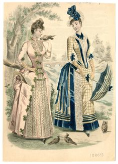 Women Plate 007 - Costume Institute Fashion Plates - Digital Collections from The Metropolitan Museum of Art Libraries Vintage Gowns, Mode Vintage, Vintage Ladies, Vintage Outfits, Vintage Hats, 1880s Fashion, Edwardian Fashion, Vintage Fashion, Medieval Fashion