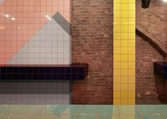Voodoo Rays pizza slice bar covered in graphic tile patterns in Dalston, north-east London by Gundry & Ducker.