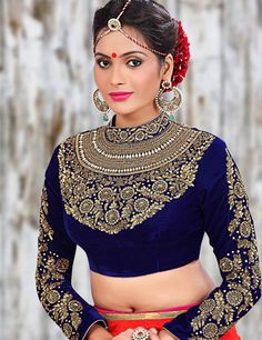 Buy Velvet blue designer readymade blouse online in India at best price.Augment your charming personality and see everyone envy you in the party function with wearing this blue New Blouse Designs, Saree Blouse Designs, Blouse Styles, Traditional Fashion, Traditional Dresses, Readymade Blouses Online, Designer Blouse Patterns, Blouse Models, Embroidery Fashion