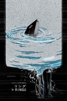 Ringu by Edgar Ascensão Best Movie Posters, Movie Poster Art, Film Genres, Thriller Film, Wall Collage, Cool Art, Horror, Cinema, Fine Art