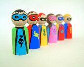 Super hero wood mini dolls for dollhouse