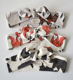 #organic cotton #headband in geometric sitting fox, sitting fox, and bear baby headband, modern clothing