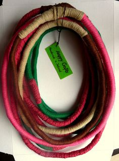 Unique yarn wrapped necklace/ Wrapping/ Hipster/ by HappyCrafts1