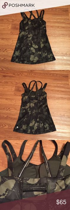 Strappy Lulu Butterfly tank like new Sexy and strappy, bra cup inserts are included! Never worn, no tags. Adorable! lululemon athletica Tops