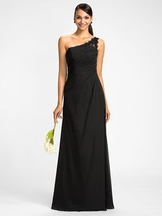 Lanting Dress - Black Plus Sizes / Petite Sheath/Column One Shoulder Floor-length Chiffon - USD $99.99