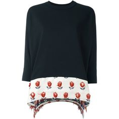 Jour/Né floral panel sweatshirt ($195) ❤ liked on Polyvore featuring tops, hoodies, sweatshirts, black, patterned tops, flower print tops, floral print tops, floral tops and patterned sweatshirt