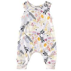 - Sleeveless Floral Romper - Soft, stretchy cotton/poly blend - Easy Snap Closure - Great for sleep or play! - Adorable + Trendy