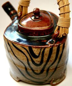 Sequoia Miller signed Zebra Shino Teapot Mint Studio Art Pottery