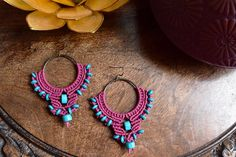 Magenta & Turquoise Macramé Earrings by TravelingSeven on Etsy