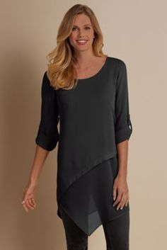 Mayfair Tunic - Chiffon Tunic, Angled Tunic | Soft Surroundings