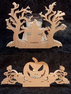SLDK177 - Witch and Pumpkin Votive and Tealight Holders
