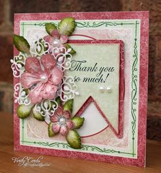 Card made using Spellbinders Enhanced Banner die and Heartfelt Creations papers, flowers and leaves from the Arianna Blooms collection. Made by Liz Walker.