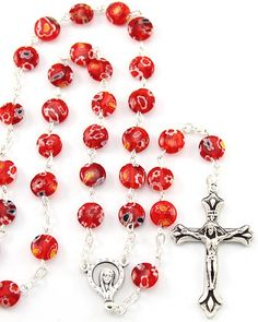 Red Murano beads Rosary with Silver finish links, Our Lady of Miracles center and an oxidized Crucifix. This Rosary can be worn. Made in Italy.(sku 8-1829)