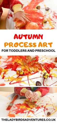 Autumn process art for toddlers - : Simple to set up process art using seasonal nature finds like conkers, pine cones and acorns. A fantastic autumn craft for kids. Fall Crafts For Toddlers, Creative Activities For Kids, Autumn Activities For Kids, Fall Preschool, Toddler Activities, Preschool Activities, Petite Section, Toddler Art, Toddler Crafts