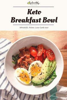 #Keto #breakfast #eggs #healthy #recipe Try my 5 ingredient Keto Breakfast Bowl with crispy bacon soft boiled egg sliced avocado over a bed of cooked spinach with a dash of Everything Seasoning Not only is this recipe ketofriendly its also Whole30 compliant Paleo and LowCarbbrp classfirstlettercompliant and The maximum elegantly photograph at PinterestpKeto Breakfast Bowl  My Healthy Dish Try my 5 ingredient Keto Breakfast Bowl with crispy bacon  pins are as aesthetic and useful as you can… Breakfast Low Carb, Breakfast Bowls, Healthy Breakfast Recipes, Paleo Recipes, Breakfast Cooking, Breakfast Ideas, Paleo Meals, Health Recipes, Lunch Recipes