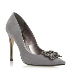 DUNE, BREANNA - Jewelled Square Brooch Pointed Toe Court Shoe - pale grey