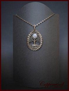 Tree of life pendant Moonstone pendant Wire wrap jewelry