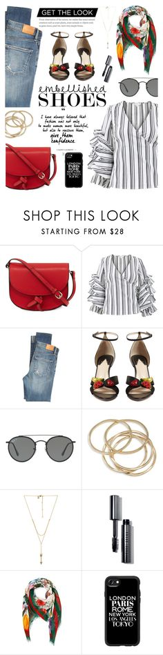 """""""Get The Look: Embellished Shoe"""" by glamorous09 ❤ liked on Polyvore featuring KC Jagger, Caroline Constas, Citizens of Humanity, Altuzarra, Ray-Ban, ABS by Allen Schwartz, Rebecca Minkoff, Bobbi Brown Cosmetics, Gucci and Casetify"""