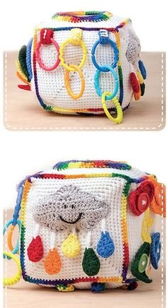 Play & Learn Activity Cubes - Storytelling Cubes to Crochet with Fun Attachments & Secret Pockets | LeisureArts.com