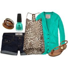 Clothes Casual Outift for • teens • movies • girls • women •. summer • fall • spring • winter • outfit ideas • dates • parties Polyvore :) Catalina Christiano Teal and animal print cardigan