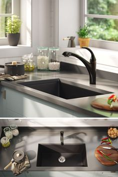 Give your classic kitchen a contemporary edge with a moody, matte black sink. Black Granite Sink, Granite Kitchen Sinks, Black Sink, Black Kitchen Faucets, Small Kitchen Sink, Interior Design Living Room, Matte Black, Composite Material, Kitchen Interior