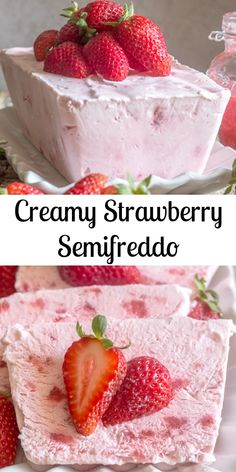 A fast and easy no-bake dessert, Creamy Strawberry Semifreddo. Made with greek y… A fast and easy no-bake dessert, Creamy Strawberry Semifreddo. Made with greek yogurt, cream and strawberries. A Perfect summertime recipe. Easy No Bake Desserts, Köstliche Desserts, Best Dessert Recipes, Summer Desserts, Desert Recipes, Sweet Recipes, Alcoholic Desserts, Apple Recipes, Recipes Dinner
