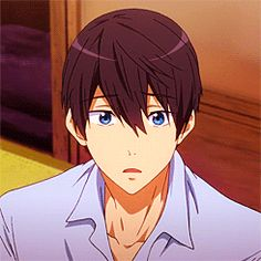 Here, have a pretty blue-eyed boy blinking on your screen. Haruka Nanase, Makoharu, Makoto, Ouran Highschool, Free Eternal Summer, Free Iwatobi Swim Club, Pretty Blue Eyes, Clannad, Cartoon Faces