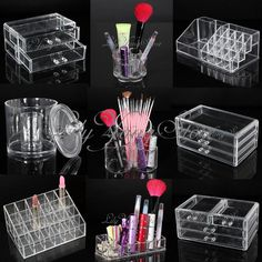 "Acrylic Cosmetic Makeup Case Lipstick Jewellery Nail Box Holder Organizer Drawer | eBay 15.36 ש""ח"